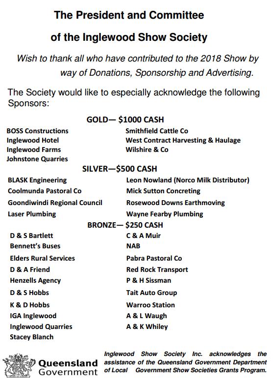 Inglewood Show Major Sponsors